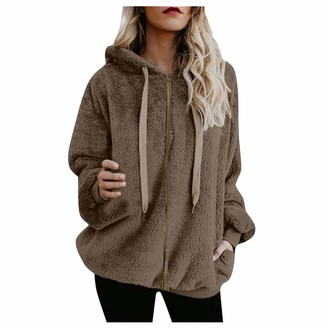 Momtop Womens Fuzzy Fleece Hooded Coat Winter Plus Size Plush Pullovers Sweatshirt Long Sleeve Plain /Color Block Loose Casual Tops W/ Full Zip/Half of Zipper/Button Closure Furry Outwear