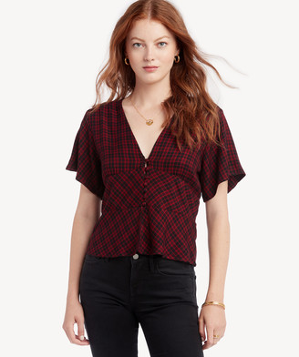 Sanctuary Women's New Moon Short Sleeve Top Generation Plaid Size XS From Sole Society