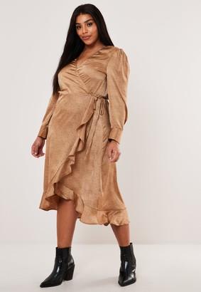 Missguided Plus Size Camel Dalmatian Print Wrap Midi Tea Dress