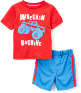 Buster Brown Red & Blue 'Wreckin Machine' Tee & Shorts - Infant