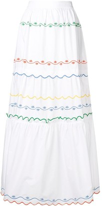 Tory Burch Embroidered Wave Skirt