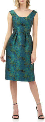 Kay Unger New York Julia Printed Jacquard Sleeveless Cocktail Dress w/ Pegged Skirt