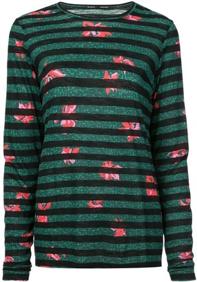 Proenza Schouler Floral Stripe Long Sleeve T-Shirt