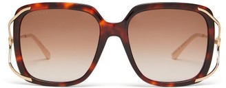 Gucci Oversized Square Tortoiseshell-acetate Sunglasses - Womens - Tortoiseshell