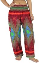 NaLuck Women's Boho Hippie Elephant Jumpsuit Smocked Waist Yoga Harem Pants PJ04