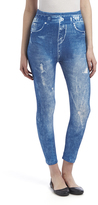 Navy Distressed Jean Leggings