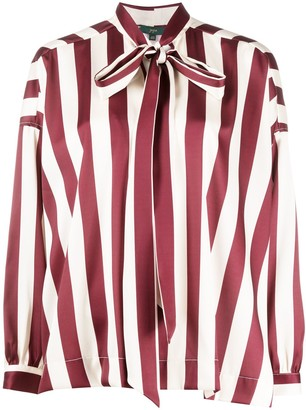 Jejia Striped Pussy Bow Blouse