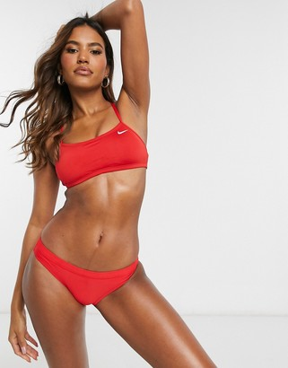Nike Swimming essential racerback bikini top in red