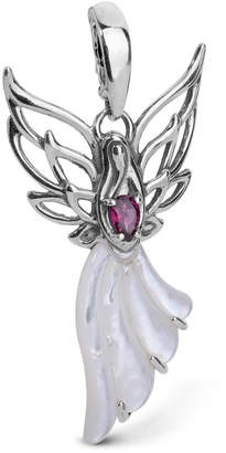 Mother of Pearl Carolyn Pollack 27x16mm) and Garnet (3/8 ct. t.w.) Angel Pendant Enhancer in Sterling Silver