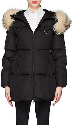 Prada Women's Fur-Trimmed Hooded Puffer Coat - Black