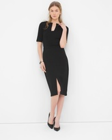 White House Black Market Notch-Neck Seamed Sheath Dress