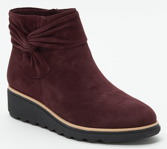 Clarks Collection Suede Ankle Boots with Bow - Sharon Salon