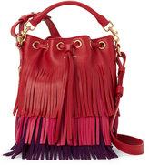 Saint Laurent Tricolor Emmanuelle Fringed Bucket Bag