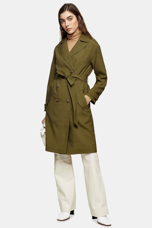 Topshop Womens Khaki Trench Coat - Khaki
