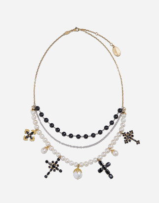 Dolce & Gabbana Family Necklace In Yellow And White Gold Black Sapphires