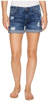 7 For All Mankind Relaxed Mid Roll Shorts w/ Destroy in Barrier Reef Broken Twill Women's Shorts