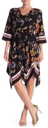 MSK Tie Front Challis Dress