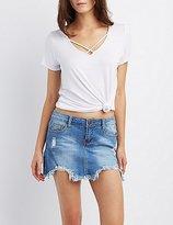 Charlotte Russe Machine Jeans Distressed Denim Mini Skirt