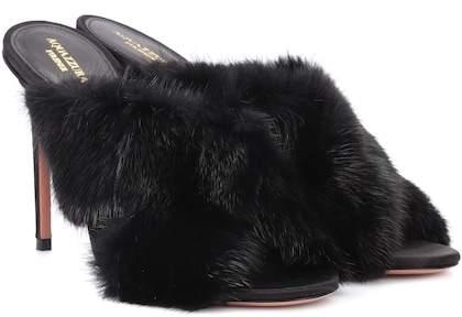 Aquazzura Purr 105 mink fur sandals