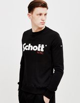 Schott NYC Schott Crew Neck Sweatshirt With Casual Logo Black