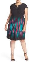 Tahari Print Jersey Keyhole Neck Sheath Dress (Plus SIze)