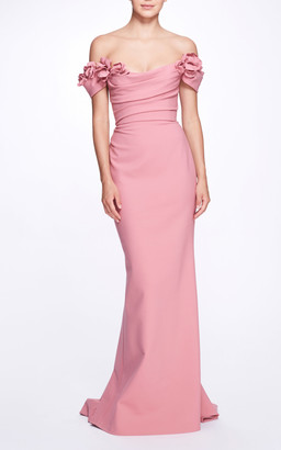 Marchesa Crepe Off-The-Shoulder Gown