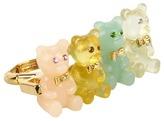 Betsey Johnson Candylane Gummy 2 Finger Ring (Multi/Antique Gold) - Jewelry