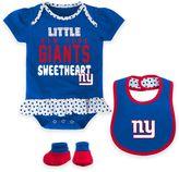 NFL New York Giants Little Sweet 3-Piece Creeper, Bib, and Bootie Set