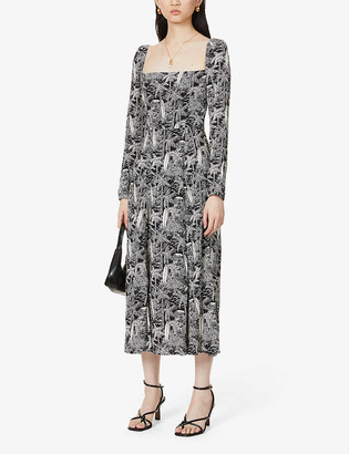 Reformation Sigmund printed crepe midi dress