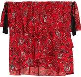 Cinq à Sept Kahlia Off-The-Shoulder Ruffled Printed Silk Blouse