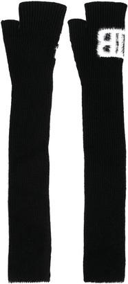 Balmain Woven Logo Fingerless Gloves