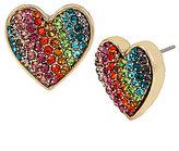 Betsey Johnson Rainbow Pav Heart Stud Earrings
