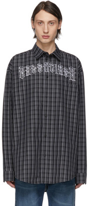 Balenciaga Black and White Check Tattoo Normal Fit Shirt