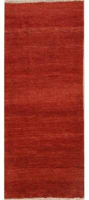 "3.1 Phillip Lim Isabelline One-of-a-Kind Makris Gabbeh Shiraz Persian Modern Hand-Knotted 3'1"" x 7'8"" Wool Red/Rust Area Rug Isabelline"