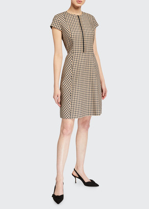 Elie Tahari Louisa Cap-Sleeve Check Dress