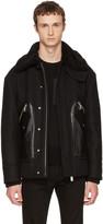 DSQUARED2 Black Oversized Wool Bomber Jacket