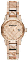 Burberry Rose Goldtone IP Stainless Steel Check Etched Bracelet Watch/34MM