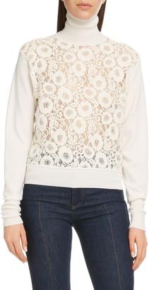 Chloé Lace Panel Wool Blend Turtleneck Sweater