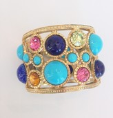 The Well Appointed House Gold Turquoise/Lapis/Pastel Cabochon Hinged Cuff