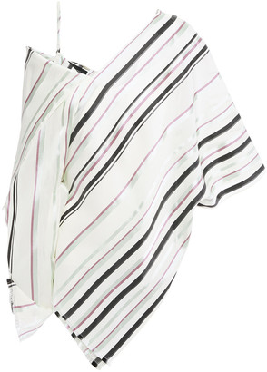 Roland Mouret Barrio Cold-shoulder Draped Striped Jacquard Top