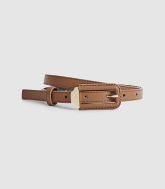 Reiss Paloma - Skinny Leather Belt in Tan