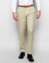 Asos Skinny Suit Pants In Stone Linen Mix