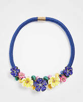 Ann Taylor Seed Bead Flower Statement Necklace