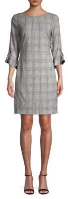 Karl Lagerfeld Paris Plaid Tulip-Sleeve Sheath Dress