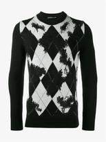 Alexander Mcqueen Wool Cashmere-blend Distressed Argyle Sweater