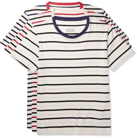 Maison Margiela Three-Pack Striped Cotton-Jersey T-Shirts