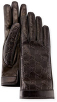 Gucci Signature Leather Gloves, Black