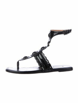 Alaia Patent Leather Beaded Accents Gladiator Sandals Black