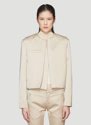 BEIGE Roni Ilan Satin Cropped Extended Jacket in