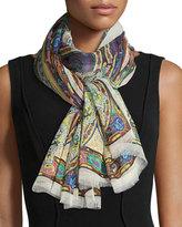 Etro Paisley Silk Chiffon Scarf, White/Multicolor